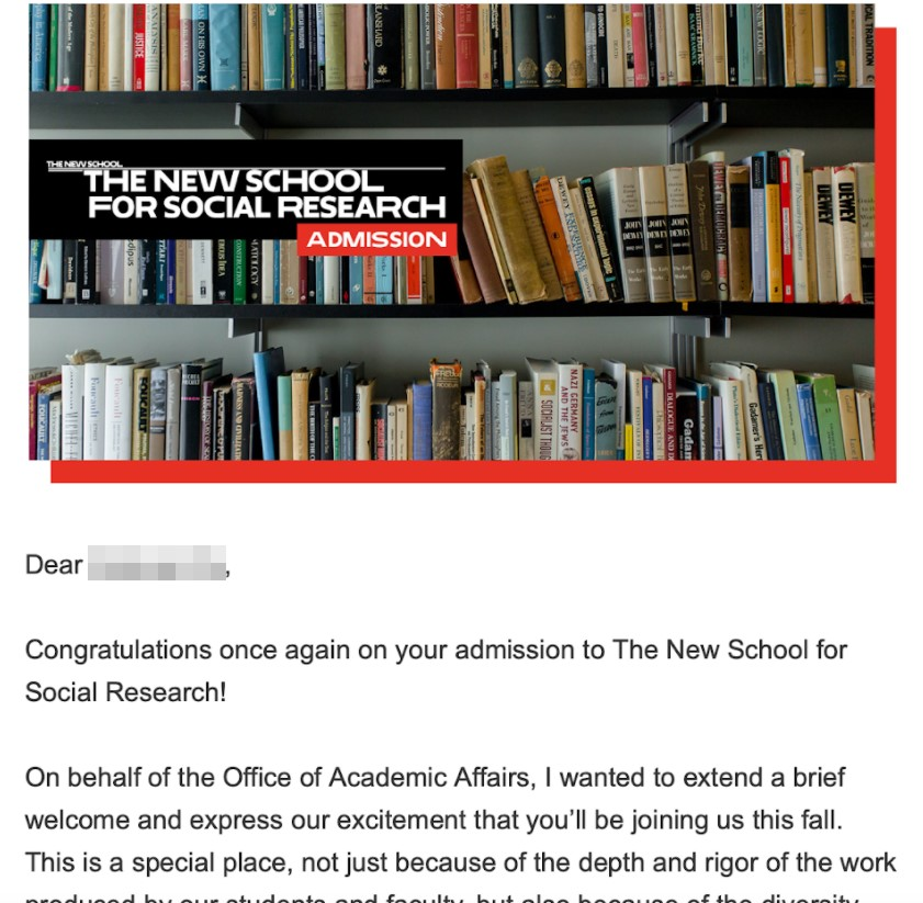 Оффер The New School for Social Research